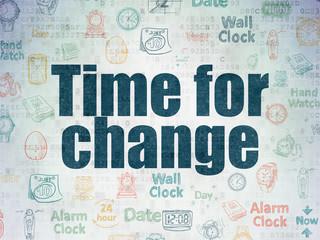 Timeline concept: Time for Change on Digital Data Paper background