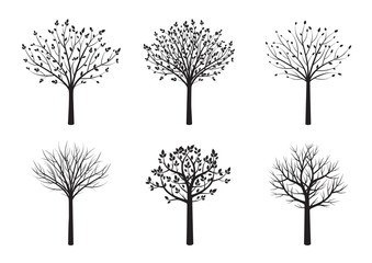 Shape of Black Trees. Vector Illustration.