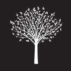 Shape of White Tree on Black Background. Vector Illustration.
