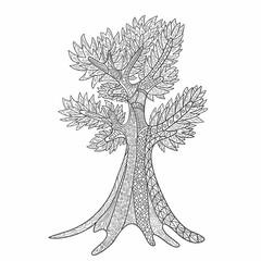 Decorative, hand-drawn tree zentangl style. Monochrome range. Vector graphics.