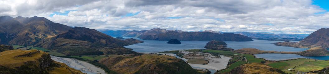 Panoramic Views from Rocky Mountain Summit towards Lake Wanaka, New Zealand