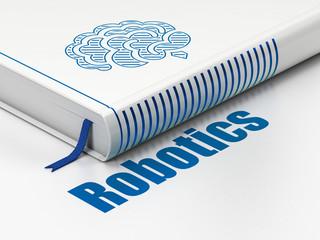 Science concept: book Brain, Robotics on white background