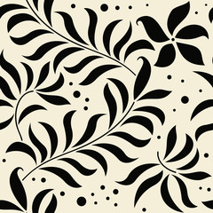 seamless damask wallpaper in black and beige.