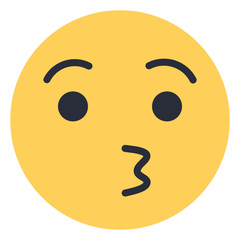 Kissing Face - Flat Emoticon design   Emojilicious