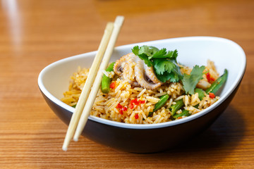 Asian riсe with seafood and vegetables
