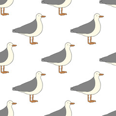 Seamless pattern with seagulls. Hand drawn illustration. Vector. Cartoon style.