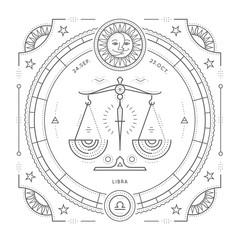 Vintage thin line Libra zodiac sign label. Retro vector astrological symbol, mystic, sacred geometry element, emblem, logo. Stroke outline illustration. Isolated on white background.