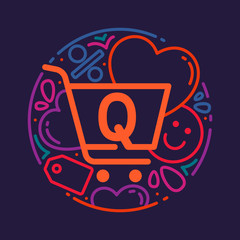 Q letter logo with shopping cart icon, hearts and smile.