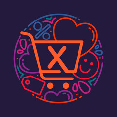 X letter logo with shopping cart icon, hearts and smile.