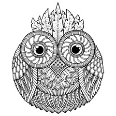 Birds theme. Owl black and white mandala with abstract ethnic az