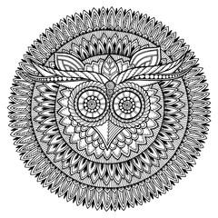Birds theme. Owl black and white mandala with abstract ethnic az