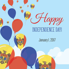 Independence Day Flat Greeting Card. Moldova, Republic of Independence Day. Moldovan Flag Balloons Patriotic Poster. Happy National Day Vector Illustration.
