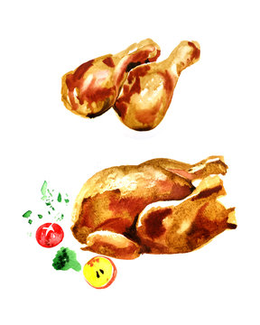 Watercolor illustration fried chicken