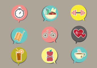 Fitness and Health icons with brown background