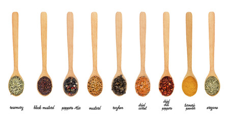 Collection of spices in wooden spoons, isolated on white