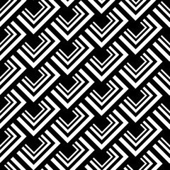 Seamless Polygonal Black and White Pattern. Geometric Abstract Background