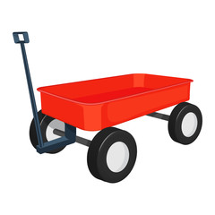 red wagon vector illustration isolated on white background