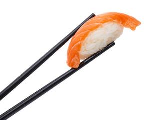 Salmon sushi nigiri in chopsticks isolated on white background