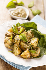 Potato salad with mint pesto and spinach