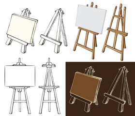 Wooden easel and canvas