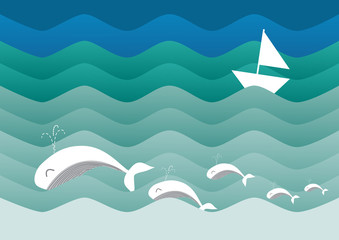 Vector nautical background with paper boat