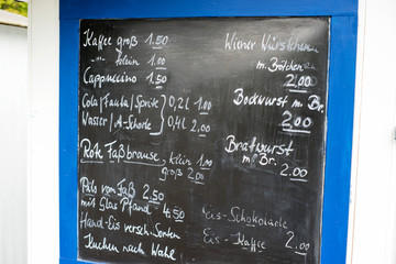 Price board / Price board for drinks and snacks