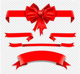 set of isolated decoration red ribbons with bow. Vector illustration