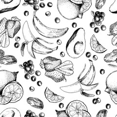 Vector seamless pattern of sketched fruitd. Hand drawn engraved avocado, banana, strawberry, dates, lemon, lime, orange, blueberry. Smoothie and cocktail ingradients in repeating mode.