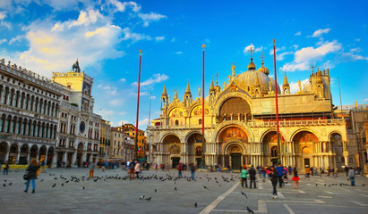 Saint Mark's Basilica at sunset, Venice, Italy