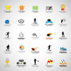 Football Icon Set - Isolated On Gray Background. Vector Illustration, Graphic Design.For Web, Websites, Print, Presentation Templates, Mobile Applications And Promotional Materials