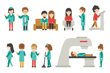 Medical Staff Flat, Isolated On White Background, Doctor, Nurse, Care, People Vector Illustration, Graphic Editable For Your Design