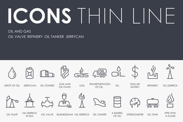 Oil and Gas Thin Line Icons