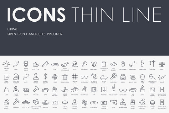 crime Thin Line Icons