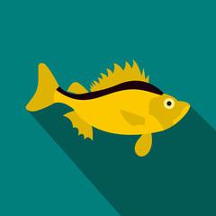 Ruff fish icon, flat style