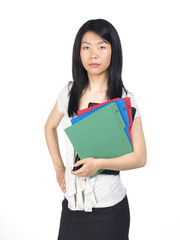 Woman Holds Folders