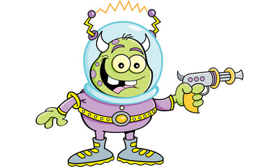 Cartoon illustration of a space alien holding a ray gun.