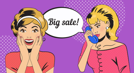 Big sale. Girls in style pop art.