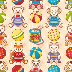 Toddler toys. Toy. Baby Toy. Seamless pattern.