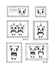 I love you! Greeting cards for Mother's Day, Valentine's Day, birthday, wedding with pandas and hearts. Hand drawn pandas with frames for your design. Doodles, sketch. Vector.