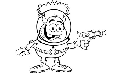 Black and white illustration of a space alien holding a ray gun.