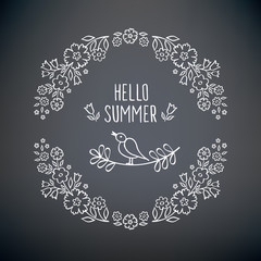 Hello summer. Vintage garland of summer flowers. Summer floral elements for Valentine's Day, mother's day, birthday, wedding. Doodles, sketch. Hand drawn with chalk on the black chalkboard. Vector.