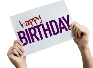 Happy Birthday placard isolated on white background