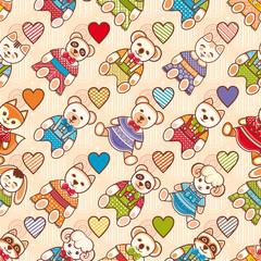 Animal. Seamless pattern.  Children's clothing.  Rabbit, hare, bear, cat, kitten, raccoon, koala, panda, fox, squirrel, sheep, dog.