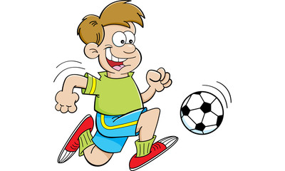 Cartoon illustration of a boy playing soccer.