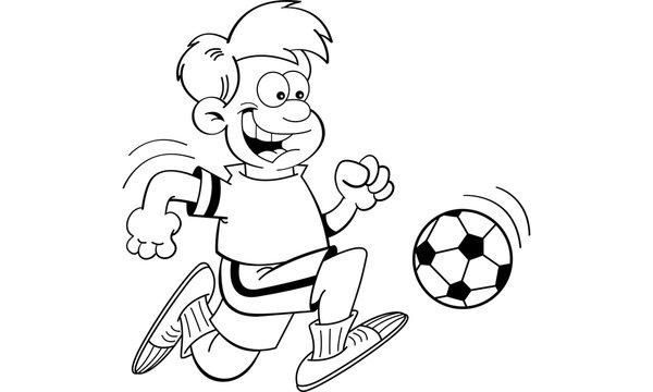 Black and white illustration of a boy playing soccer.