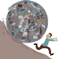 Scared man running from a huge rolling ball of possessions, EPS 8 vector illustration, no transparencies