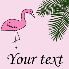 Flamingo palm leaves summer background card with text vector