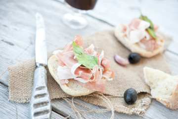 Sandwiches with dried ham