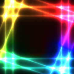 Rainbow neon grid on dark background - template