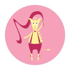 Funny giraffe dancer. Cartoon vector Illustration
